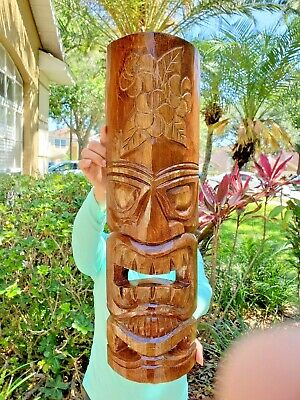 """Unique 20/"""" Hand carved Wood Natural Style Tiki Mask With Tongue Design!"""