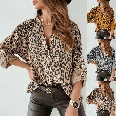 UK Size Women Leopard Long Sleeve Ladies Casual Holiday T-Shirt Tops Blouse 8-26
