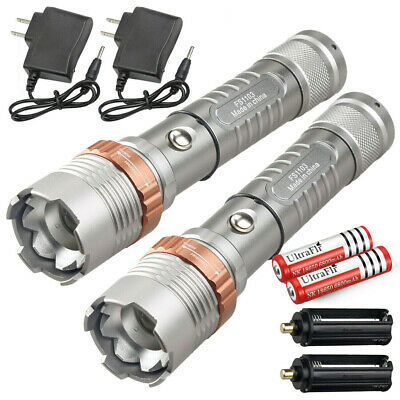 Details about  /2 PACK 990000lm Shadowhawk Flashlight Rechargeable 3 Modes T6 LED Tactical Torch