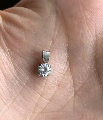 Solid Silver 925 Small Clear Cubic  Zirconia Pendant Hallmarked