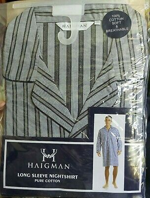 7290 Mens Long Sleeve Nightshirt Nightwear Easy Care Poly Cotton By Haigman