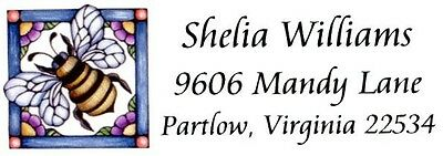 Bumble Bee Stained glass looking Address Labels