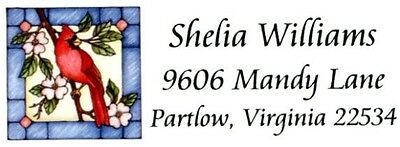Cardinal Bird Stained glass looking Address Labels