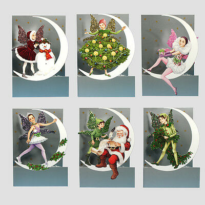 6 3D Moon Fairy Christmas Cards by Courtier with Fold Back Glitter Wings XC0015