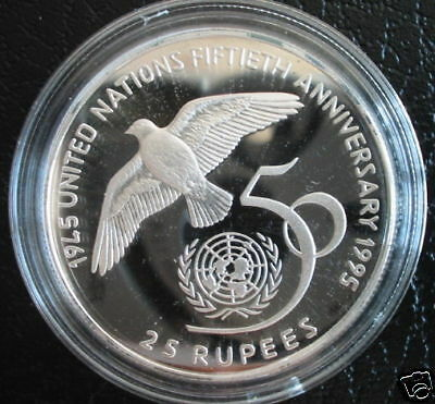 SEYCHELLES 25 Rupees 1995 Silver Proof UNITED NATIONS