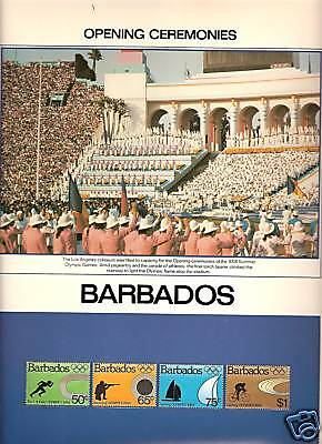 Barbados # 623-626 1984 Summer Olympics Opening Ceremonies