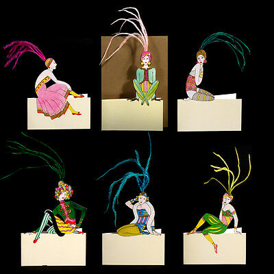 36 Art Deco Greeting Cards or Place Settings Cards with Ostrich Feathers EC0006