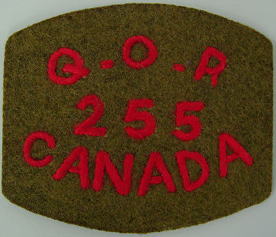 255 Queen's Own Rifles Shoulder Title Red on Khaki