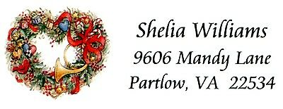 Heart Christmas Wreath Different Address Labels