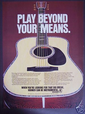 1978 vintage Ad HOHNER Rosewood dreadnought Guitar