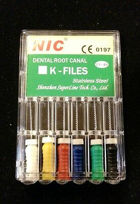 Dental Endodontic K-files - size Assorted #15-40   25mm
