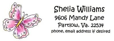Big Pink Lacey looking Butterfly Pretty Address Labels