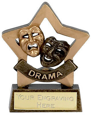 DRAMA Small Star Trophy FREE ENGRAVING Acting Award Personalised New