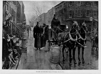 Horse Drawn Carriage, The Rich And Poor, Antique Print