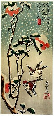 Repro Japanese Print 'Sparrows and Camelias in The Snow'