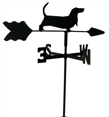 Basset Hound Garden  Weathervane Black Wrought Iron Made In Usa Tls1004In