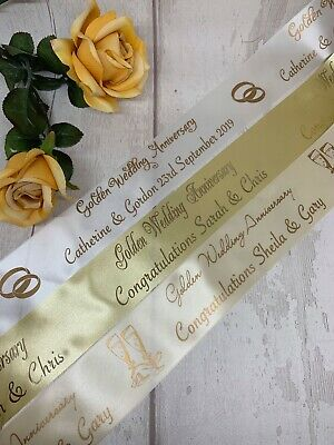 Silver or Golden Wedding Anniversary Personalised Polyester Ribbon 45mmx1 metre