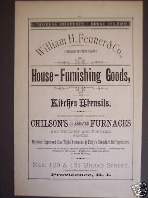 1881 William H. Fenner Providence RI store print ad