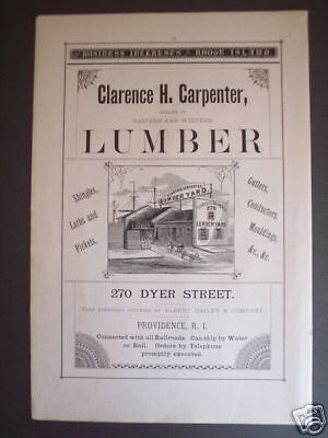 1881 Clarence H. Carpenter LUMBER YARD RI Advertisement