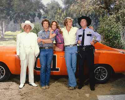 Dukes Of Hazzard Color 11X14 Photo Cast By General Lee
