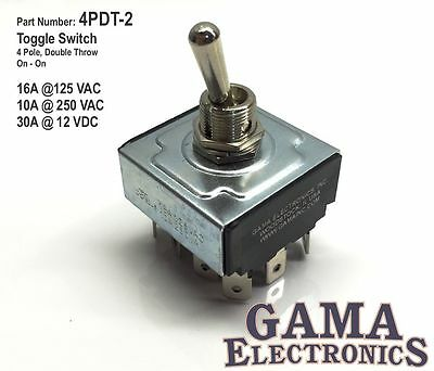 4 Pole, Double Throw  On-On Toggle Switch - 4PDT-2