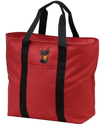 MINIATURE PINSCHER embroidered tote bag ANY COLOR