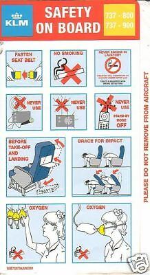Safety Card - KLM - B737 800 900 - 2001 (S1634)