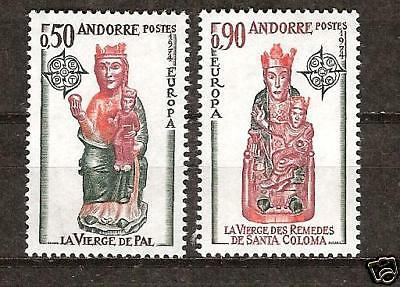 Andorra, French # 232-3 Europa '74 Statues Rural Artist