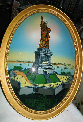 Antique Usa Art Deco Glass Painting Wood Frame Lady Statue Of Liberty New York