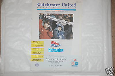 Colchester v Stafford Rangers Programme 2nd Nov 1991 Co