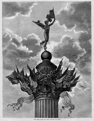 RED FLAG ON THE COLUMN OF JULY, 1871 ANTIQUE ENGRAVING