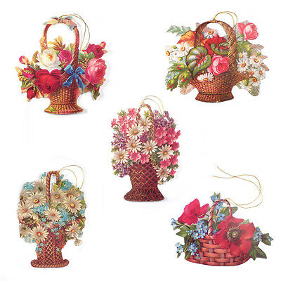 125 Victorian Basket of Flowers Die-cut Gift Tags Strung with Gold Cord  ET0011