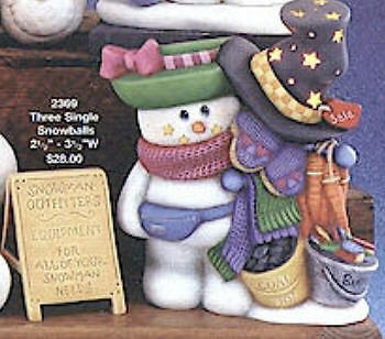 Ceramic Bisque Snowlady with Snowmans Outfitter Clothes