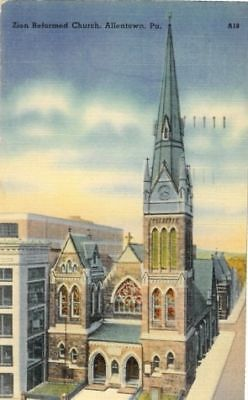 Linen Postcard  Zion Reformed Church, Allentown, PA