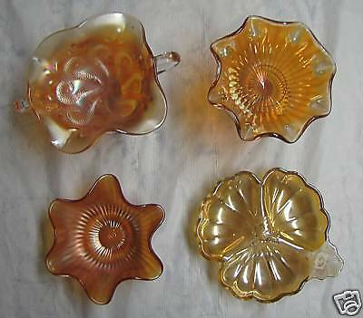 Vintage Carnival Glass Lot 4 candy dishes / bowls - one Northwood (3490-A-C-E)
