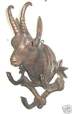 Antique Black Forest Chamois Head Wall Plaque