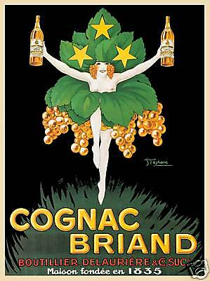 French Cognac Briand grape woman art  poster print SKU1572