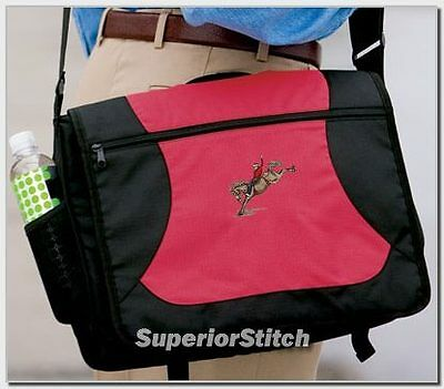 BRONC RIDING horse embroidered messenger bag ANY COLOR