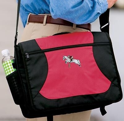 HUNTER JUMPER horse embroidered messenger bag ANY COLOR