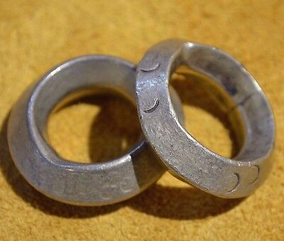 2 Antique Ethiopian Handmade Brass Metal Wedding Rings Size 7 1/2 & 9 - Ethiopia