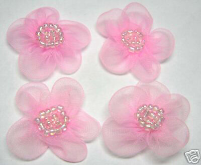 Organza Beaded Flower Appliques x 60 Pink-Dress/Bow
