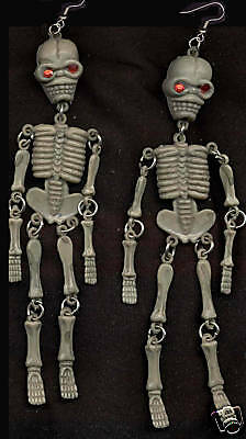 Huge Funky GRAY SKELETON EARRINGS Cool Gothic Punk Emo Halloween Costume Jewelry