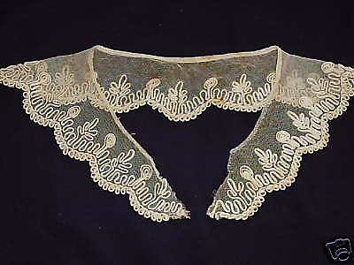 Vintage Unique rare  Antique  Beige Collar heavy detail French