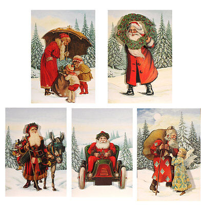 30 Traditional Die-cut Red Coated Father Christmas Cards - Red Envelopes  XC0012