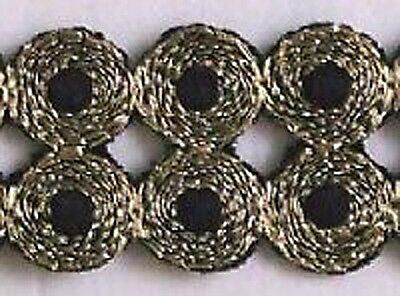 Embroidered, Iron-On Trim. 3 Yards. Gold & Black