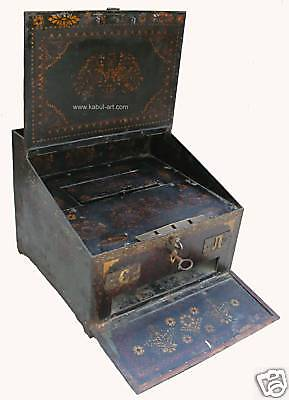 RUSSIAN Antiqu POLYCHROME DECORATED METAL BOX Safe 1900