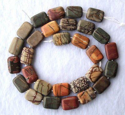 Picasso Jasper Flat Rectangle Beads 10×14mm15.5""