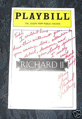 Playbill RICHARD II, signed by Michael Stuhlarg, Shakespeare/Public Theatre 1994