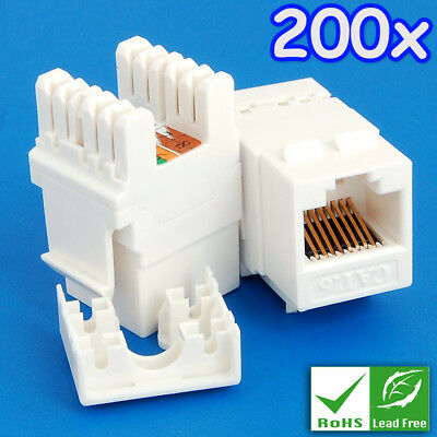 200x eLINK GigaSpeed Cat6 Cat.6 Keystone RJ45 Modular Jack/Connector/Outlet RoHS