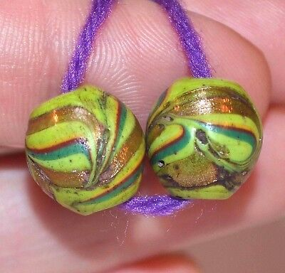 Antique Venetian Green & Gold Lampwork Feather Italian Glass Beads African Trade
